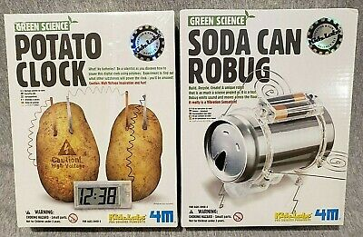 Green Science Potato Clock and Soda Can Robug Kits New