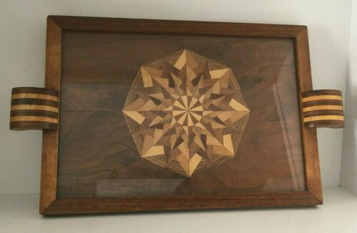 Vintage Marquetry Wood Inlay Serving Tray w/ Glass Geometric Star