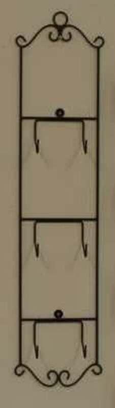 "VICTORIAN VERTICAL 3 PLATE DISPLAY HOLDER WALL HANGER 31"" TALL BLACK METAL DECOR"