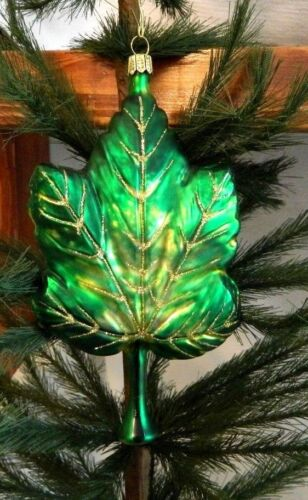 Large Gold and Green Maple Leaf Blown Glass Christmas Tree Ornament Germany