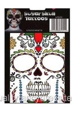 Day of The Dead Halloween Sugar Skull Face Paint TATTOO FANCY DRESS Make Up