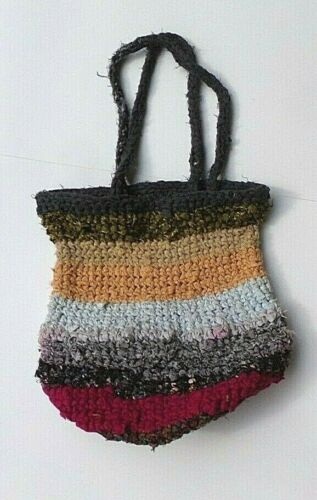 "16"" x 13.5""    CROCHETED VINTAGE FABRIC BAG      by  BONNIE-D"
