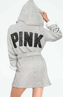 VICTORIAS SECRET PINK SHERPA LINED HOODED COZY ROBE GRAY GLITTER BLING XS/S M/L  (Cozy Robe)