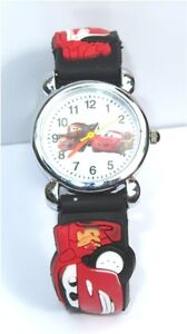 CHILDRENS KIDS PIXAR CARS 3D QUARTZ WRIST WATCH GIFT MANY COLOURS AVAILABLE