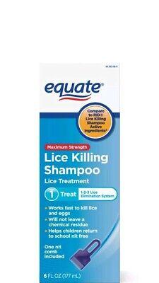 Equate Maximum Strength Lice Killing Shampoo, 6 Fl Oz No box Exp Date 1/19