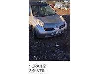 Nissan MICRA k12 1.0 silver 5DOOR spares breaking