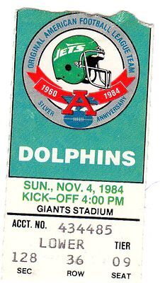 2ND YR DAN MARINO GM# 21/242 TICKET STUB 1984 - MIAMI DOLPHINS @ NEW YORK JETS