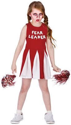 Zombie Horror Cheerleader Kinderkostüm NEU - Mädchen Karneval Fasching Verkleidu