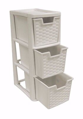 Rattan Style Plastic Small 3 Drawer Mushroom Tower Storage Unit for School Home ()
