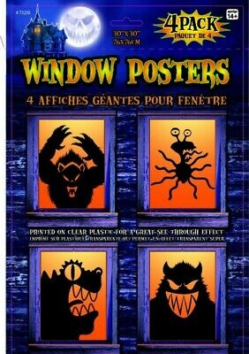Monster Halloween Party (MONSTERS WINDOW Poster Silhouette SCARY Halloween Party Decorations Cover)