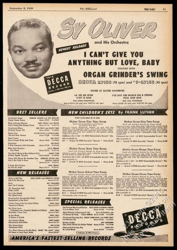 1950 Sy Oliver photo Decca Records vintage trade print ad