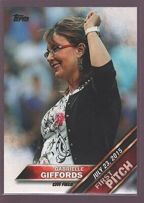 Gabrielle Giffords New York Mets Citi Field First Pitch Rookie Rc 2016 Topps