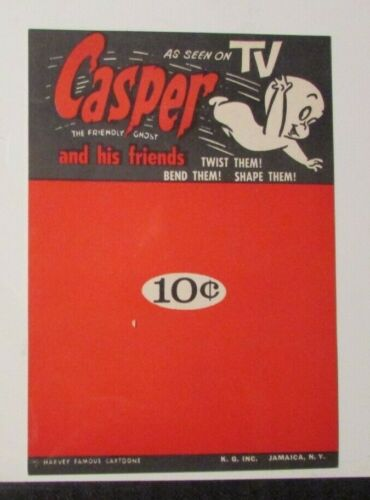 """Vintage CASPER THE FRIENDLY GHOST Gumball Vending Ad 5x7.25"""" Card FVF 7.0"""