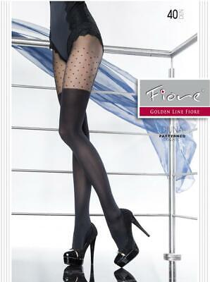 FIORE DIUNA MOCK STOCKINGS W/ DOTS ABOVE THIGHS PANTYHOSE TIGHTS BLACK 40 DENIER - Dotted Tights