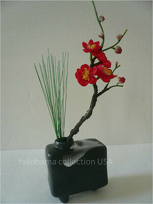 Japanese Mini Rectangle Glacial Moraine Black Ikebana Flower Arrangement Vase