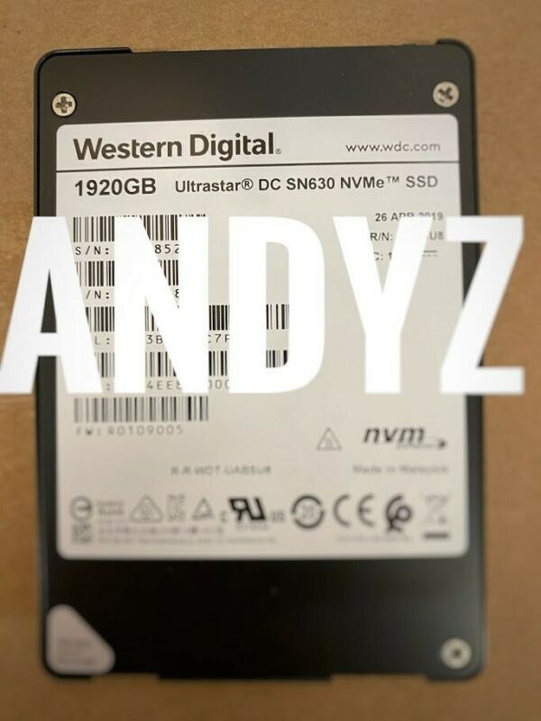 """WDC Ultrastar DC SN630 1.92TB NVMe 2.5"""" SSD - 0TS1618 - Pulled Barely Used"""