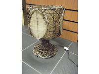 Table lamp Chinese bamboo hand weaved