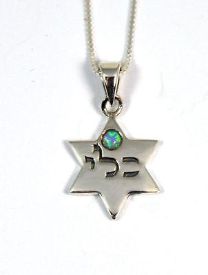 Star of David Opal Jewish Kabbalah pendant sterling silver ISRAEL necklace