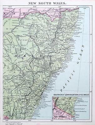 AUSTRALIA, NEW SOUTH WALES original antique map c1895