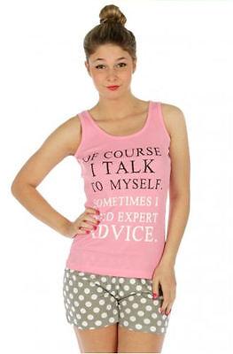 Print Pyjama Top (Letter Print Tank Top & White Polka Dot Shorts Pajama Set, Cotton, , S, M, L,)