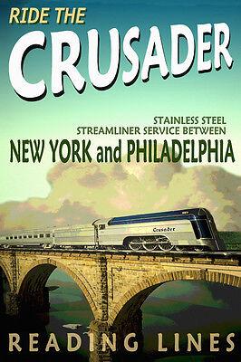 READING Lines CRUSADER Railroad Poster Streamliner Train Art Print 033