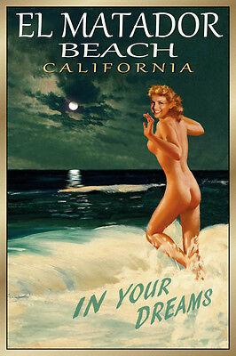 EL MATADOR Beach California Original Travel Poster Marilyn PinUp Art Print -
