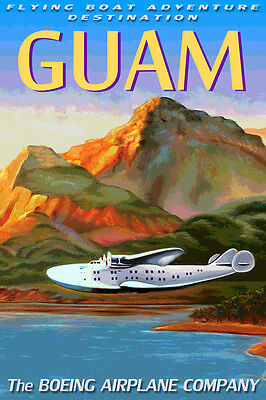 Clipper Plane (GUAM Boeing 314 CLIPPER Flying Boat Sea Plane Travel Poster Art Deco Print)