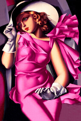 Tamara de Lempicka Young Girl in Pink Art Deco High Fashion Poster Print 211