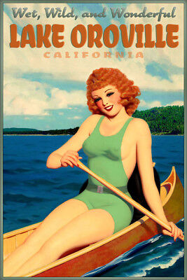 Lake Oroville California Retro Pin Up Travel Poster Redhead Canoe Art Print 243