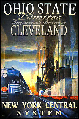 (Cleveland Ohio State New York Central Railroad Train Poster Ragan Art Print 292)