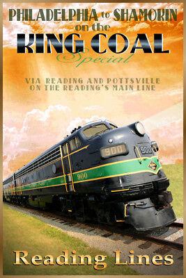 King Coal Reading Railroad Retro Train Travel Poster EMD FP7 Art Print 344