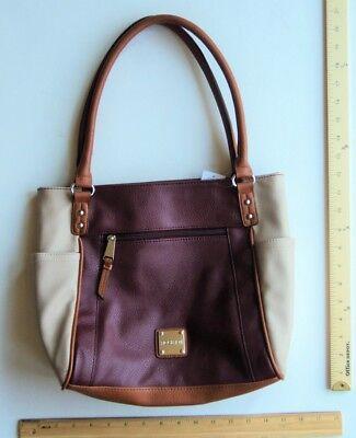 ROSETTI Berry Wine Burgundy Maroon Cream Purse  Tote Hand Bag - FLASH SALE](Cheap Tote Handbags)