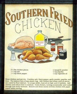 Retro Vintage Country Kitchen SOUTHERN FRIED CHICKEN RECIPE Wall Decor wood Sign