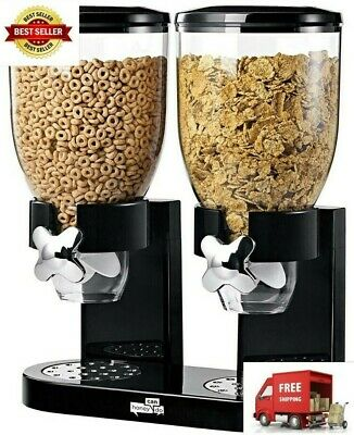 Indispensable Dry Food Dispenser Dual Control Black Chrome Storage Kitchen Home
