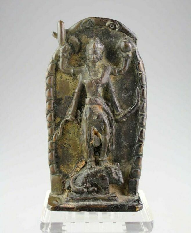 *SC*RARE INDONESIAN HINDU BRONZE FIGURAL PLAQUE, 11TH.-14TH. CENTURY