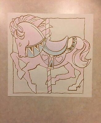 Vintage T-shirt Heat Transfer Pink Carousel Horse