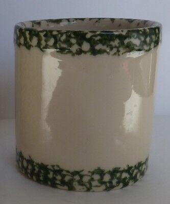 "Gerald E Henn Workshops Crock Green Trim Sponge Ware Canister Pot Roseville 5.5"""