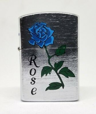 Chrome Blue Rose Flip Top Lighter