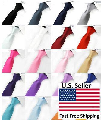 100% Woven Silk Necktie (Casual Solid Plain Classic Skinny 100% New Silk Woven Slim Necktie Men's Tie )