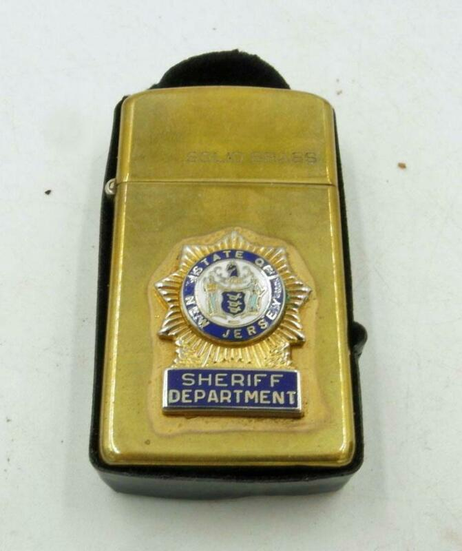 ZIPPO 1932-83 SOLID BRASS NJ SHERIFF DEPARTMENT PRESENTATION NAMED SLIM LIGHTER