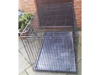 EXTRA LARGE FOLDING BLACK METAL PET / DOG CAGE (BLACK) L. 46 INCHES x WIDTH 30 INCHES x H. 34 INCHES