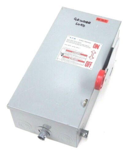 CUTLER HAMMER DH361UGK DISCONNECT SAFETY SWITCH 30AMP, 600V MAX, 3 POLE