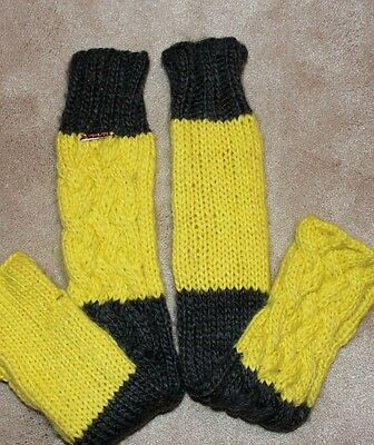 new MICHAEL KORS LEG ARM WARMERS CABLE KNIT GLOVES gray neon yellow ](Neon Yellow Leg Warmers)