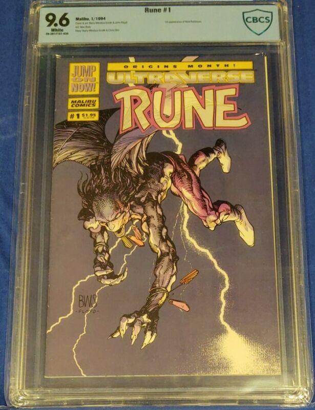 Rune Ultraverse #1 and Rune vs Venom #1 both CBCS 9.6 white pages not cgc