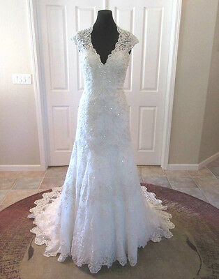 New White Ivory Lace Wedding Dress Bridal Gown Custom Size 4 6 8 10 12 14 16 18