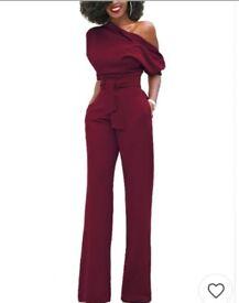 Burgundy jumpsuit size 6-8