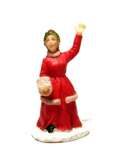 Lemax Christmas Village Figure Victorian Woman with Hand Muff Red Dress Waving