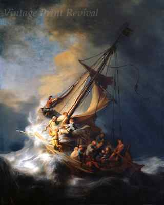 Christ in the Storm on Lake Galilee by Rembrandt - Jesus Bible 8x10 Print 1346