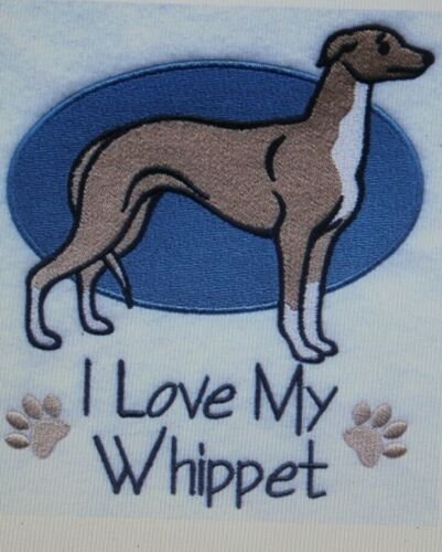 Love My Whippet Dog Embroidered Personalized Tee Shirt ALL SIZES