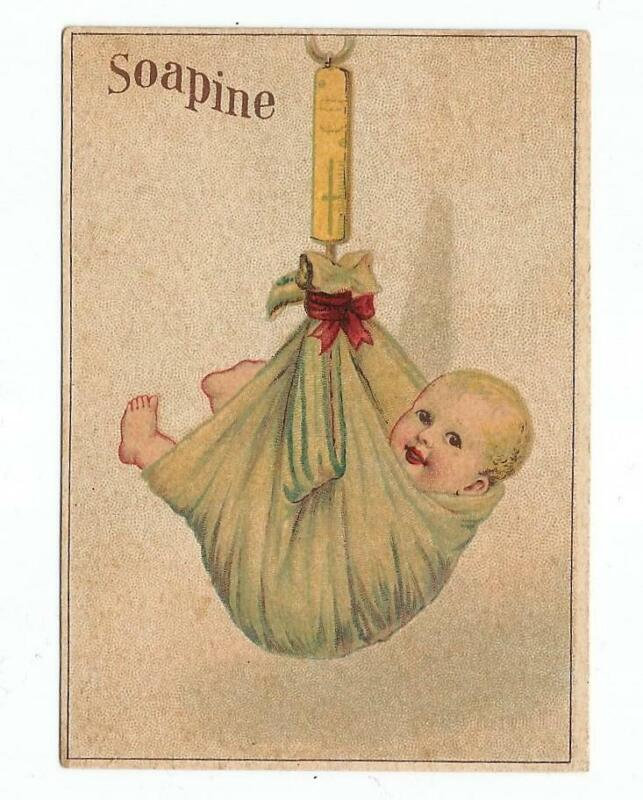 Antique Victorian Soap Trade Card KENDALL SOAPINE Hanging Scale Weighing Baby